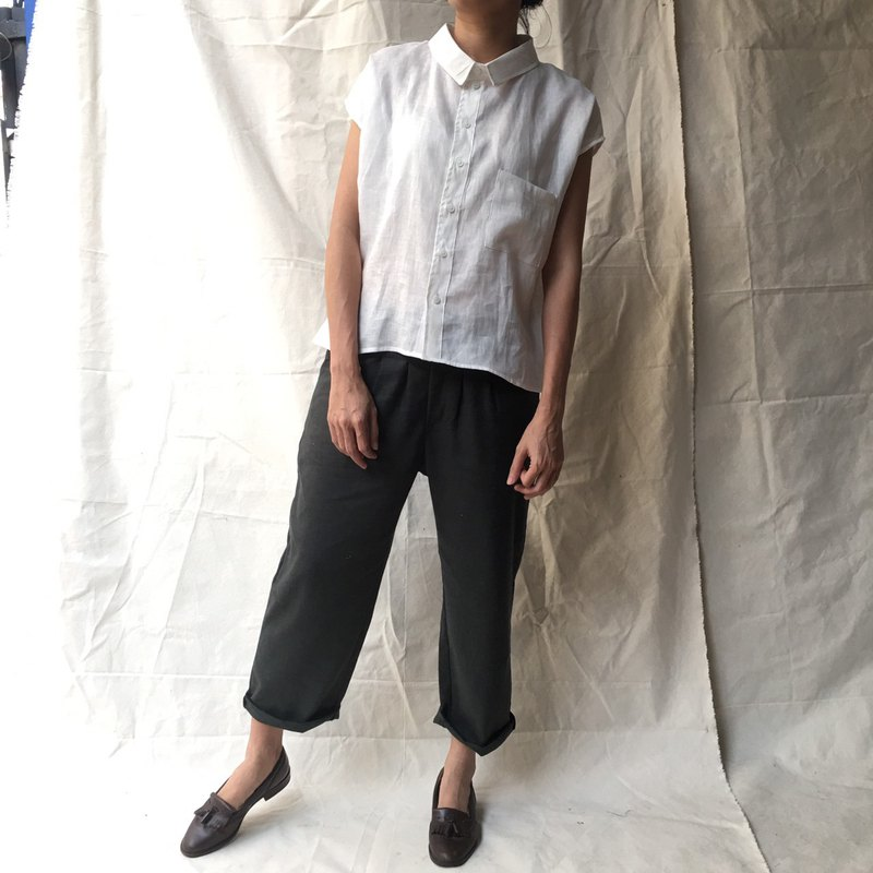 Charcoal Grey Linen Peg Pants