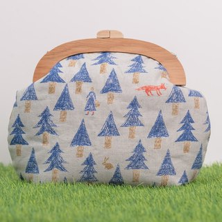 Fairy tale in the forest / blue / large models / wood mouth gold bag / retro cross bag /