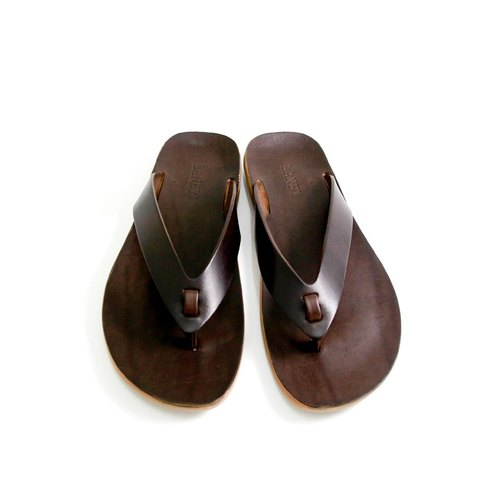 Lanni handmade shoes / hand-stained black coffee vegetable tanned leather / flip-flops / lightweight wear-resistant rubber sole