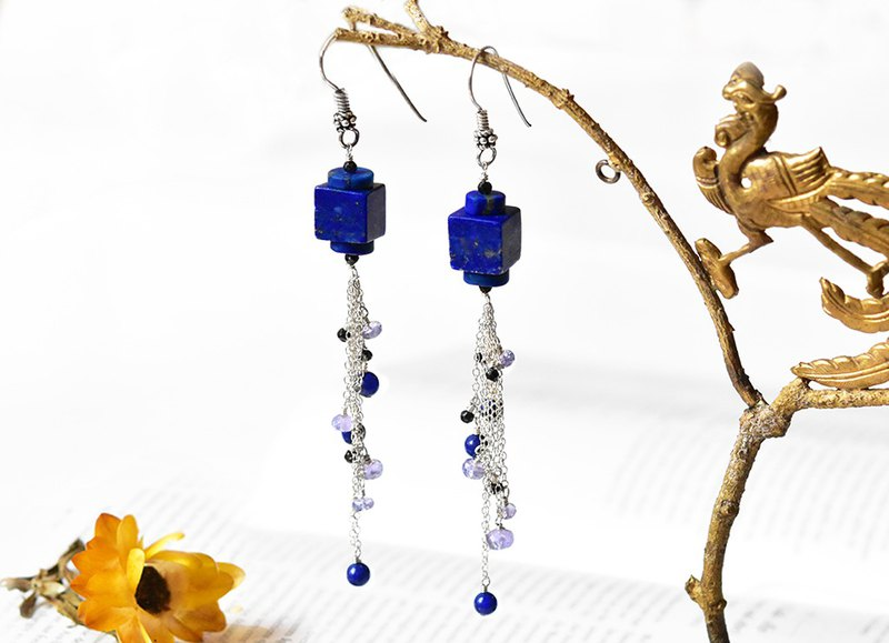 Natural lapis lazuli 14k alloy ringing bell earrings