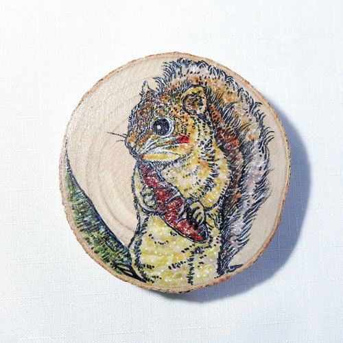 Limited - healing hand-painted wooden Videos (coaster) - squirrels eat roasted sweet potatoes