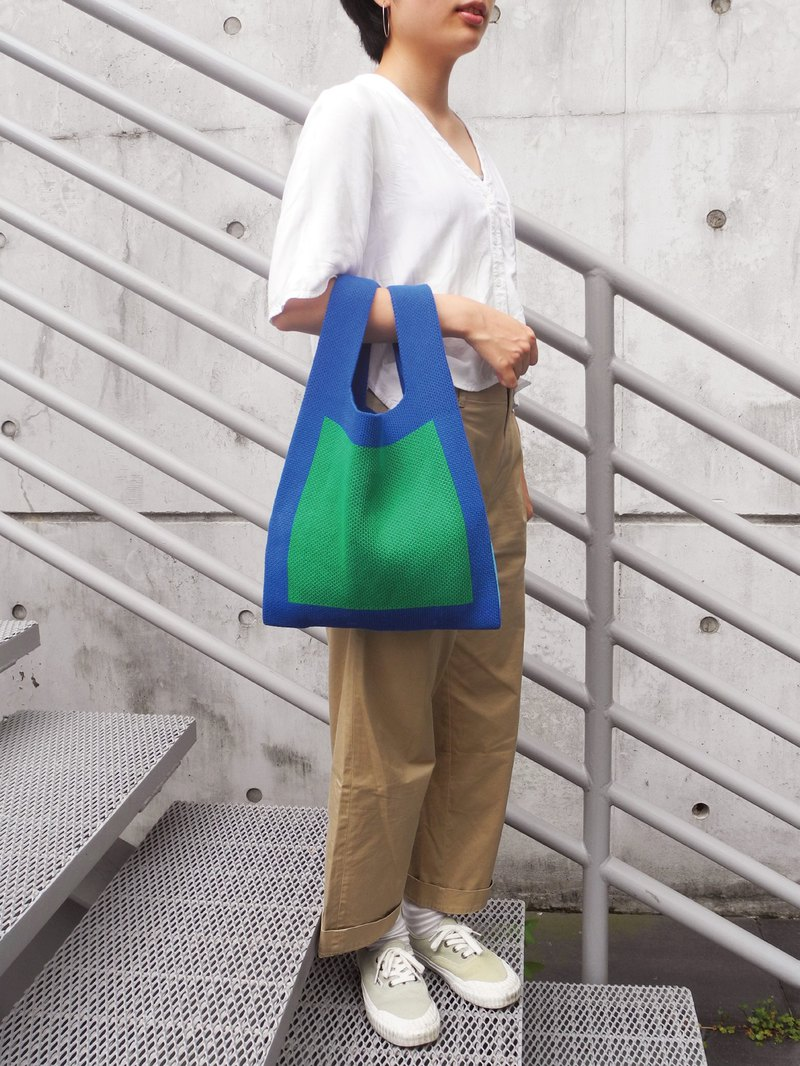 Knitting Shopper / Knit Tote - Large - Blue