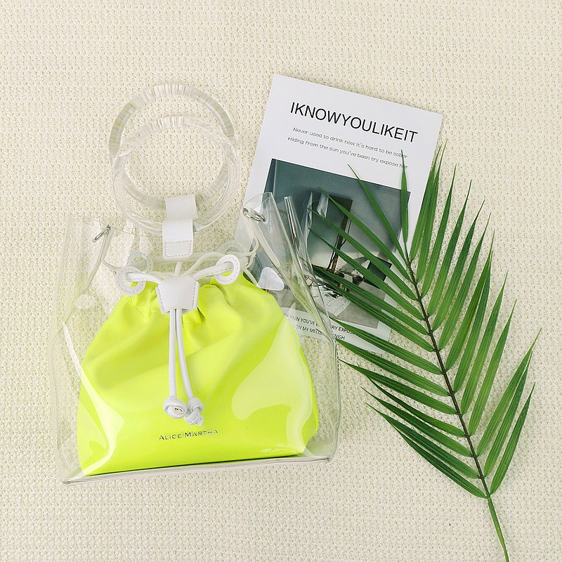 Alice Martha Transparent Double Handbag-Fluorescent Yellow