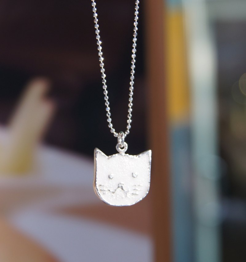 * I love cat * handmade silver necklace