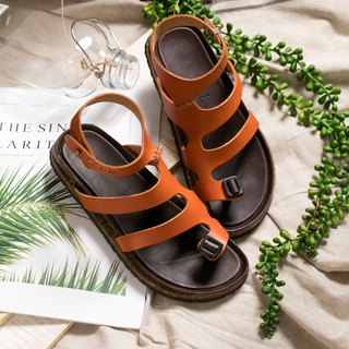 Leather Roman Sandals _ Orange