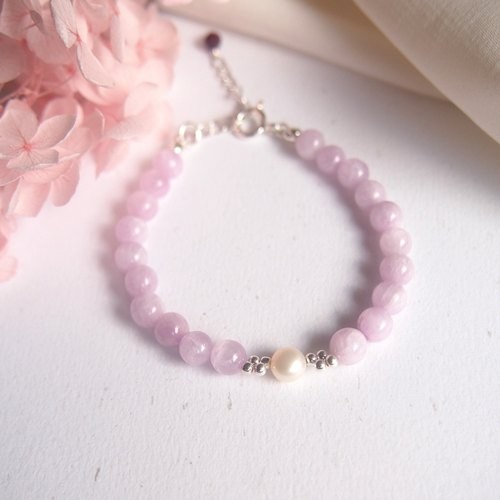 Hydrangea | Purple Lithium Freshwater Pearl Purple Tooth Pure Silver Bracelet