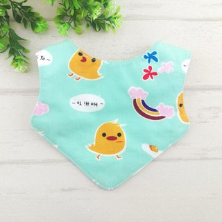 Yellow chicks -3 color optional. Newborn double-sided bib / saliva towel (double cotton + four yarn) (can increase the price of 40 embroidery) (chicken baby)