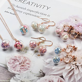 OMYWAY Handmade Dried Flower - Glass Globe Earrings necklace