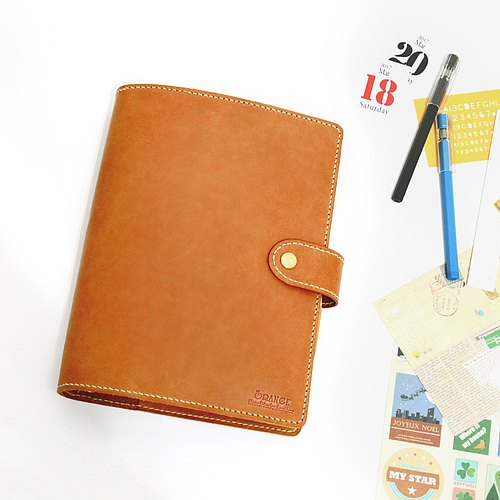 Small orange peel vegetable tanned leather A5 20 hole A5 6 hole loose-leaf notebook