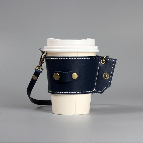 Roll up leather drink bag Vegetable tanned leather cup cover Green beverage bag Handmade leather sewing Small and easy to store original product - blue ~ ~ March 31 during the promotion of preferential price