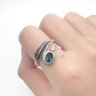 Blue Topaz 925 Sterling Silver Feather Design Ring Nepal Handmade Silverware