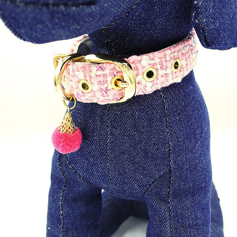Fashionable dog collar tweed color CHISA candy pink