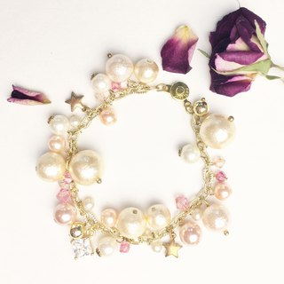 Luxury Cotton Pearl Bracelet -Petal Pink