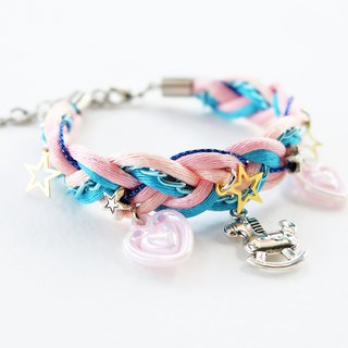Sweet pink blue riding-horse bracelet