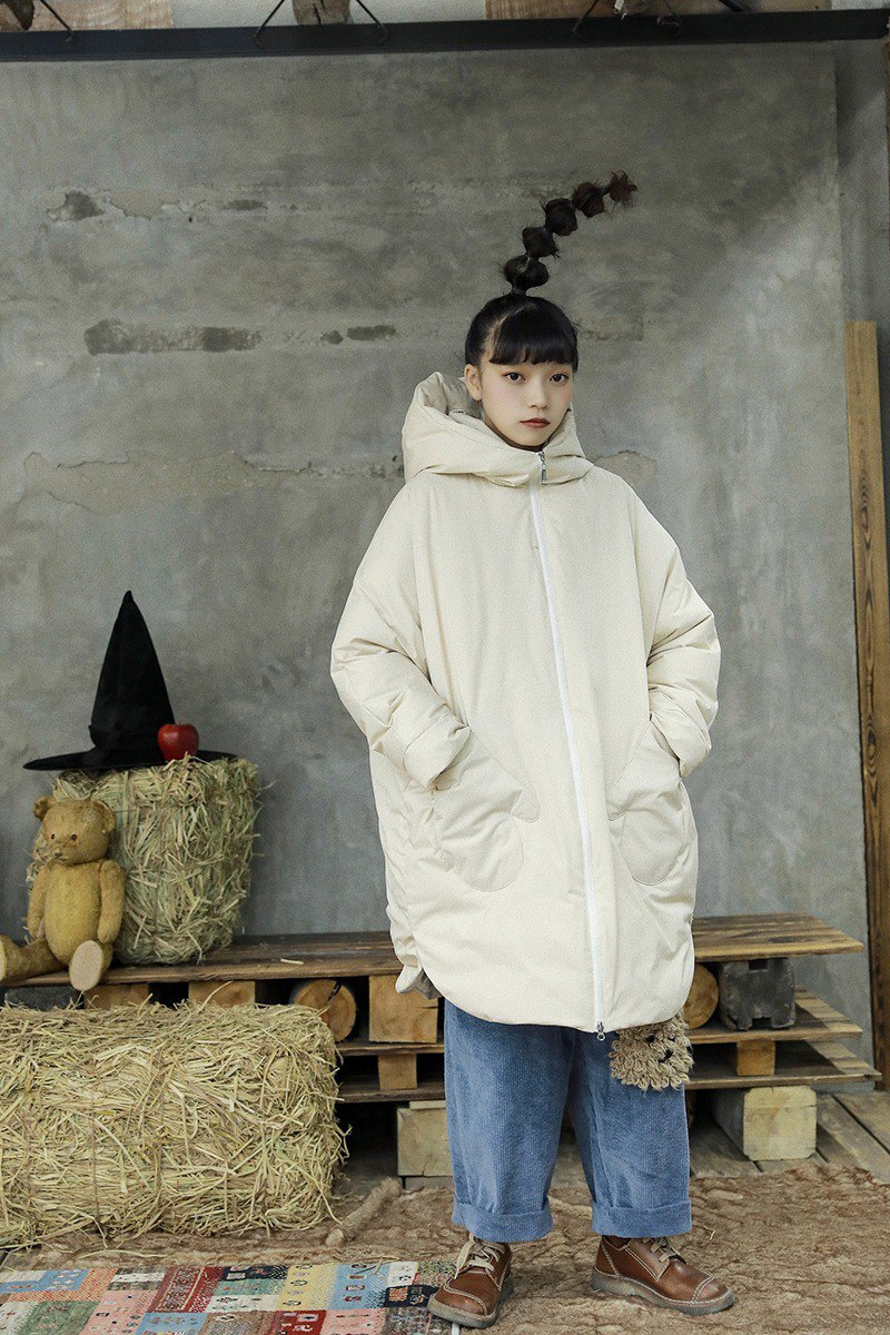 [The Wizard of Oz] instant noodle dog Toto warm white duck down hooded silhouette down jacket