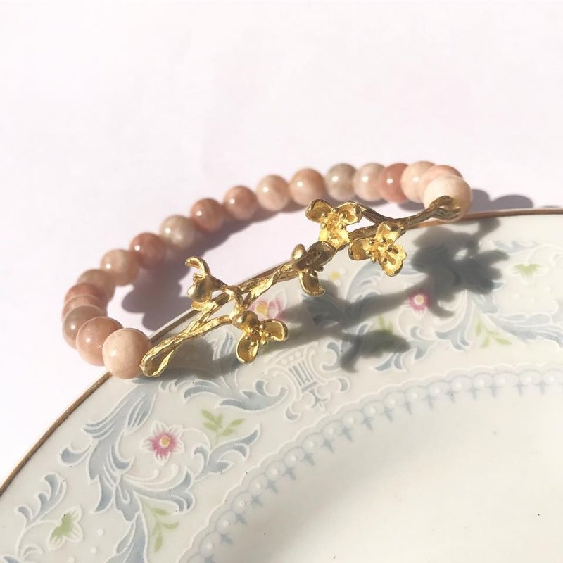 【Lost and find】 natural stone copper flower sun stone bracelet