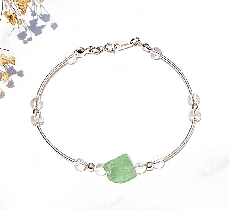 <Weekly Guardian Stone - Wednesday> Fluorite Stone White Crystal 925 Sterling Silver Bracelet Wednesday
