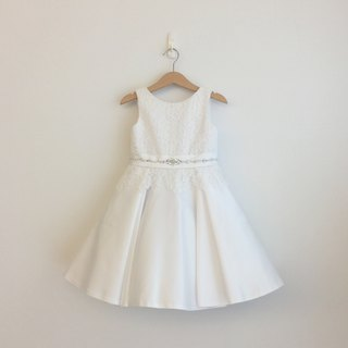 White Lace Satin Dress with Beaded Waist