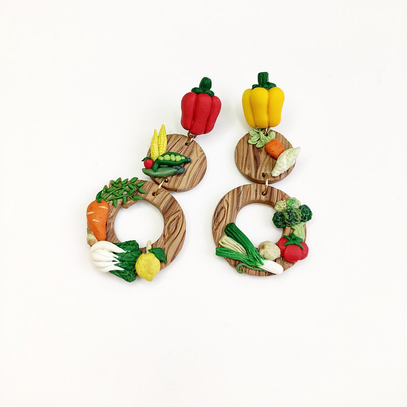 Rice Flower Fragrant Said Feng Nian-Three Rings-Handmade Soft Ceramic Earrings