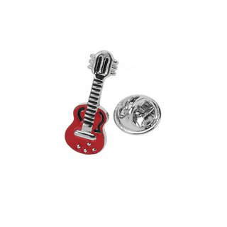 Red Enamel Guitar Lapel Pins