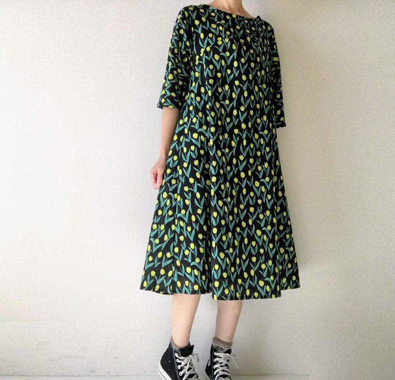 yellow tulip  flowers simple  flare dress