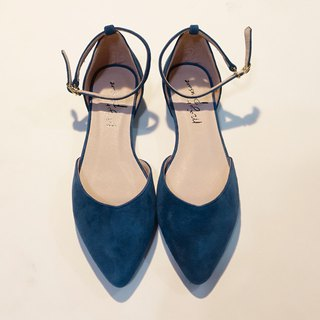 Elegant everyday shoes! inverted V-shaped slim feet, lace-up shoes, glass, blue, full leather, MIT