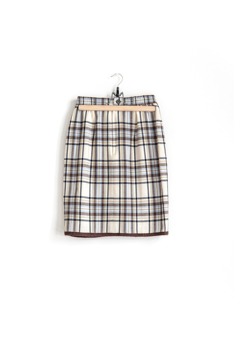 Vintage elegant vintage plaid wool skirt waist