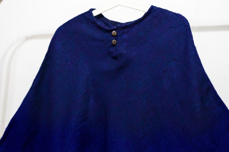 Indian ethnic tassel cloak / bohemian cloak shawl / wool hooded cloak - blue stars