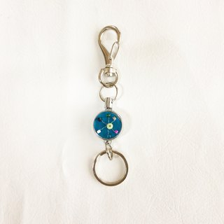 key ring with reel, Czech vintage glass beads  blue