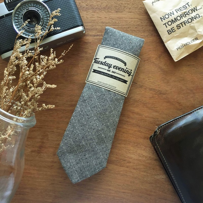 Necktie Grey Stripe Stitched