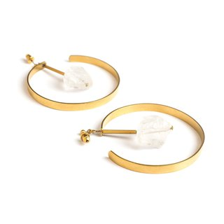 White Crystal Ear Ear Clear crystal circle earrings