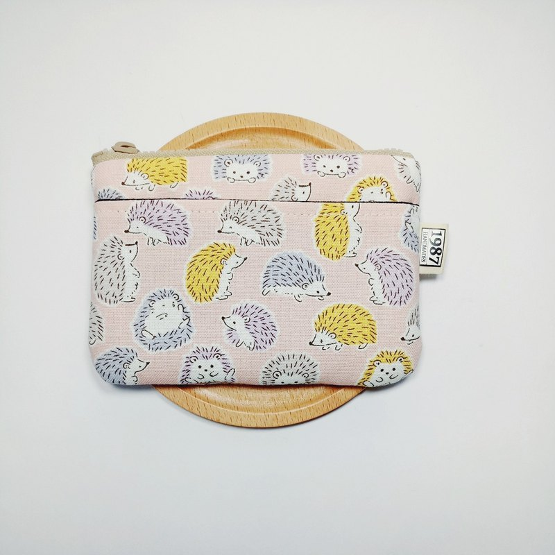 [Hedgehog baby-powder] Coin purse clutch bag with zipper bag Christmas exchange gift