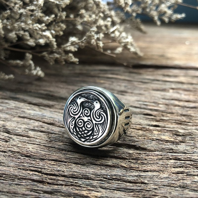 Hobo nicOdin Ravens ring viking jewelry celtic pagan Totem biker Huginn Boho man