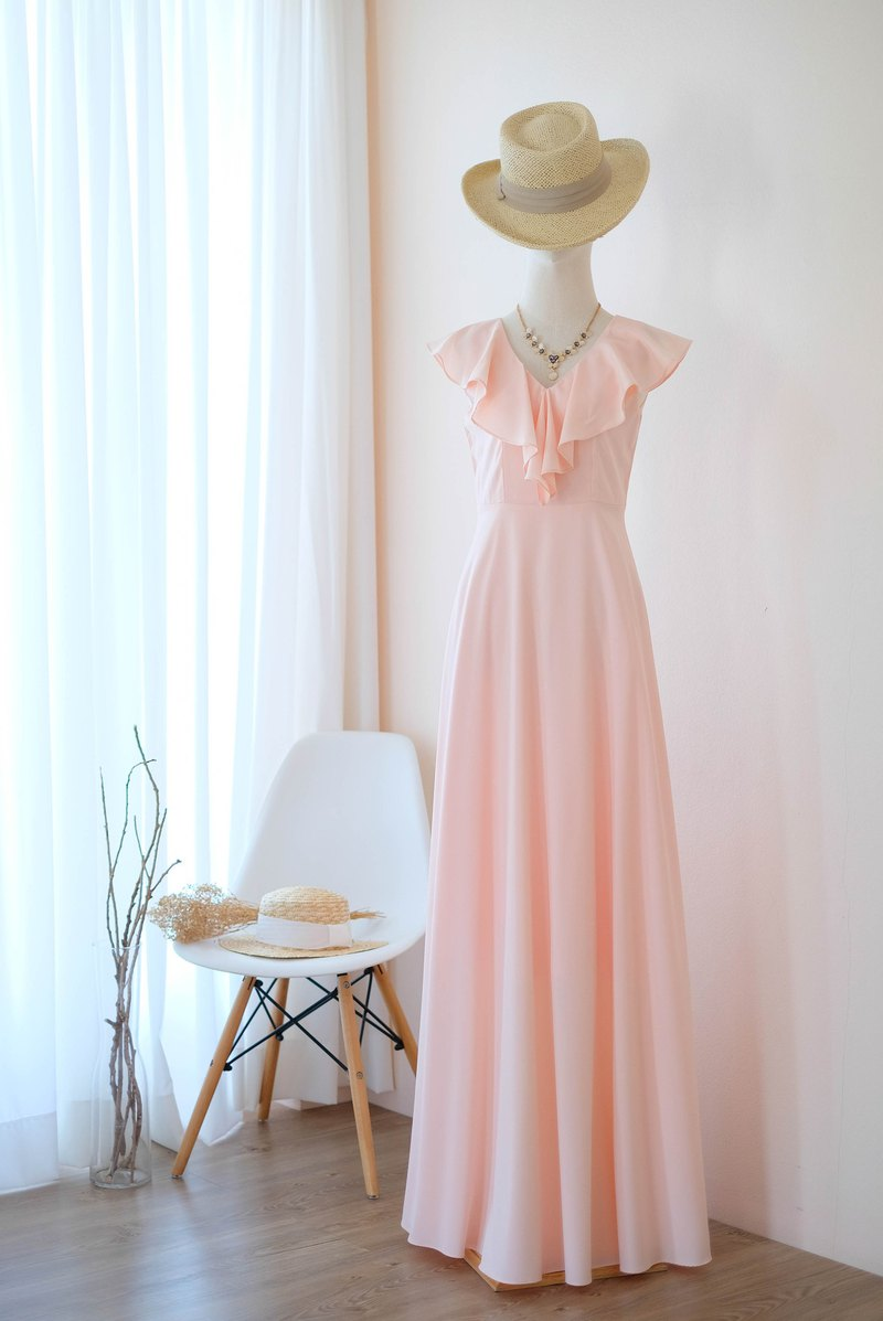 Pink Blush Maxi dress Summer dress Bridesmaid dress Cocktail party dress