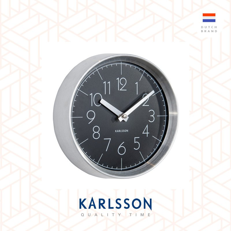 Karlsson, Wall clock Convex glass black, brushed aluminum case