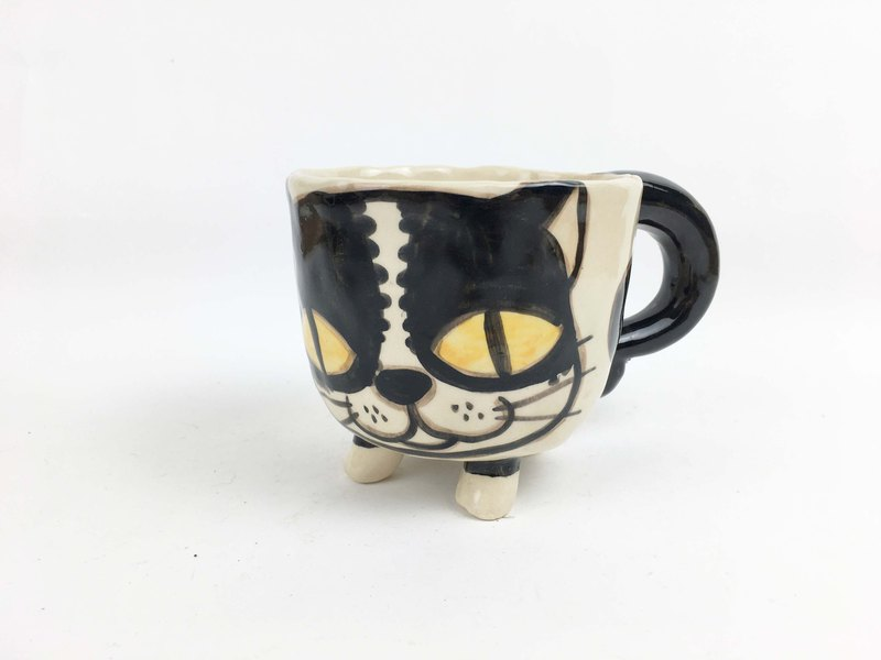 Nice Cat Little Cup Handmade 01 Clay Foot 0115 Flower Nnm8wv0