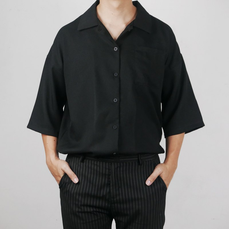 O COLLECTION - OVERSIZE POCKET SHIRT - BLACK COLOR