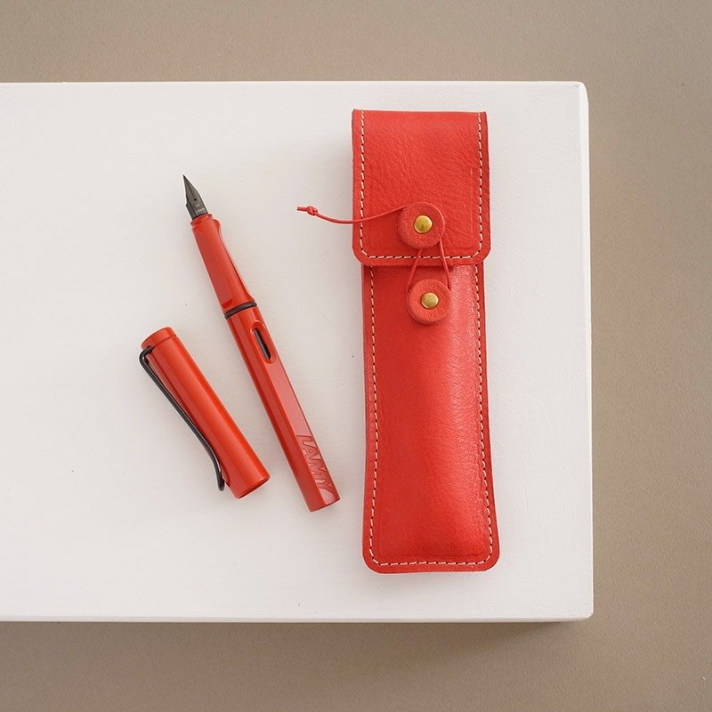 """RENÉE"" retro styling envelope single pen set, vegetable tanned leather carving / vegetable tanned leather / vegetable tanned leather warm red"