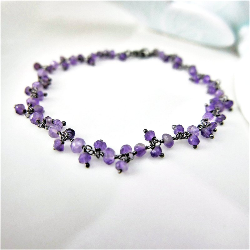 [Buy one get one free] [Lalune] February grape amethyst mysterious black gray 925 silver birth stone bracelet