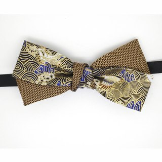 Japanese crane bow tie, tan bow tie, Japanese pattern bow tie