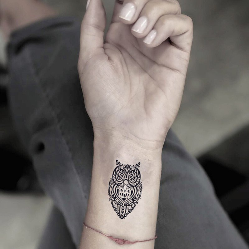 TOOD tattoo stickers | ankle position Bohemian national wind owl animal tattoos tattoo stickers (2)