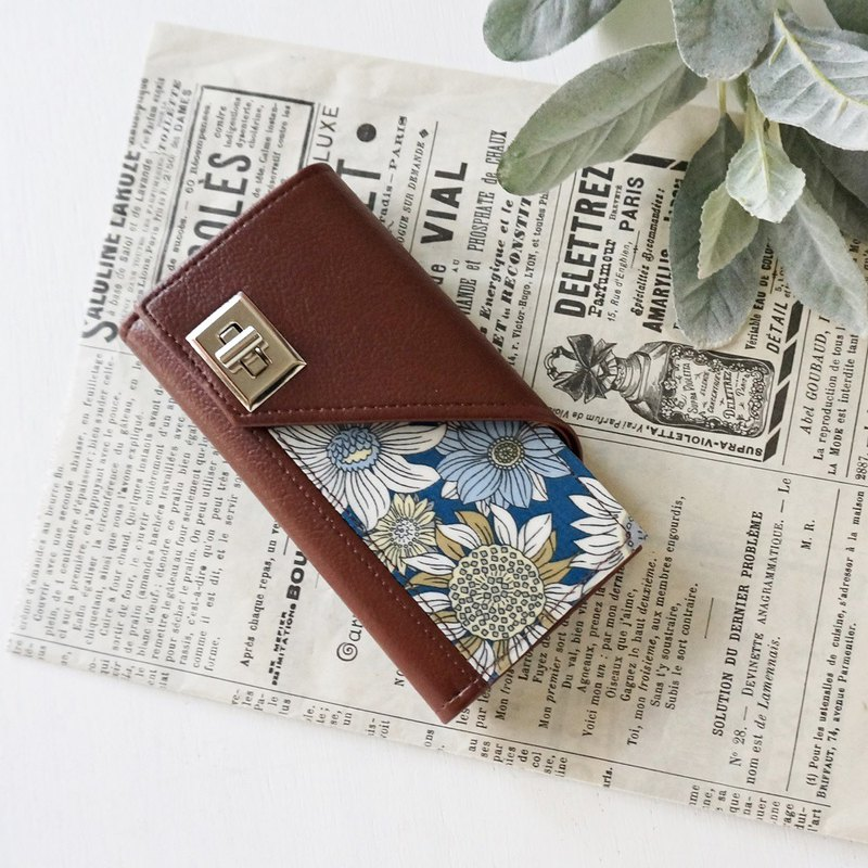 BLUE Botanical Flower iPhone Case Flower Pattern Handbook Type Smartphone Case