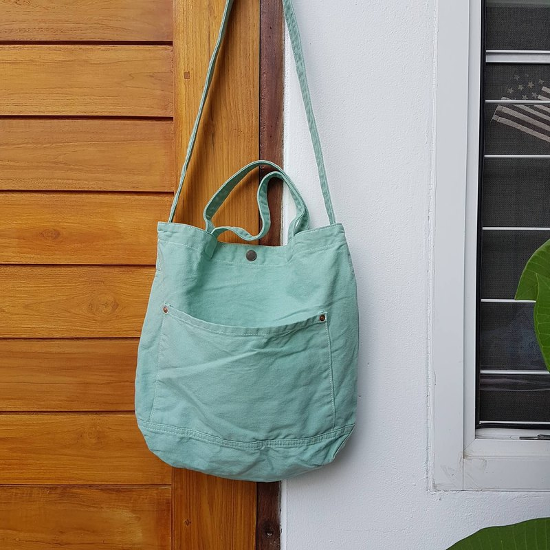 New Mint Little Canvas Tote / Weekend bag / Shopping bag