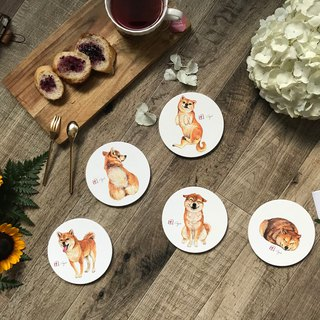 Red Shiba Ceramic coasters set
