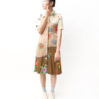 【RE0614D1227】 early summer retro autumn wind flower color block stitching short-sleeved ancient dress