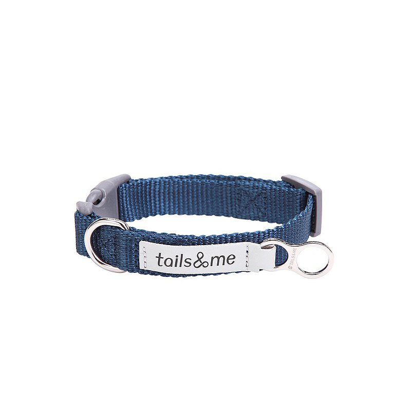 [Tail and me] classic nylon belt collar dark blue