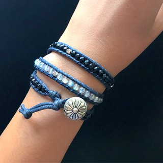 Natural stone woven bracelet - blue black / three ring moonstone black agate custom products