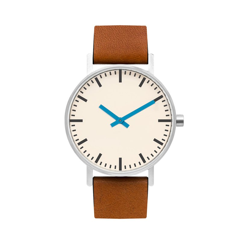 BIJOUONE B50 series watch blue pointer yellow brown leather strap simple waterproof personality design men and women