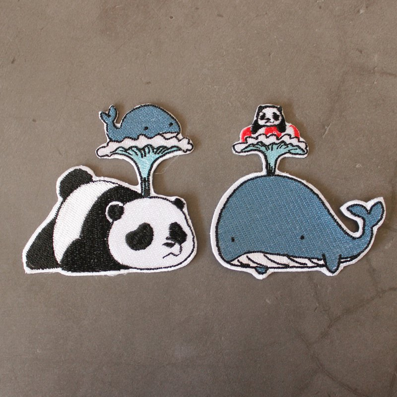 Iron patch Switch Panda set 2 pcs : Whele & Panda Whele