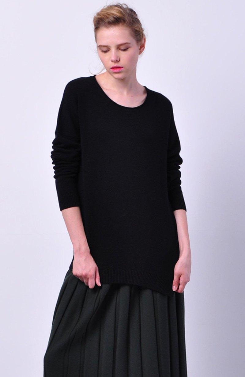 原創下擺開叉設計羊絨cashmere時尚黑針織上衣